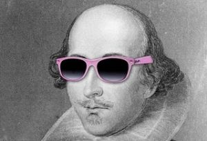 A black and white image of Shakespeare wearing pink sunglasses